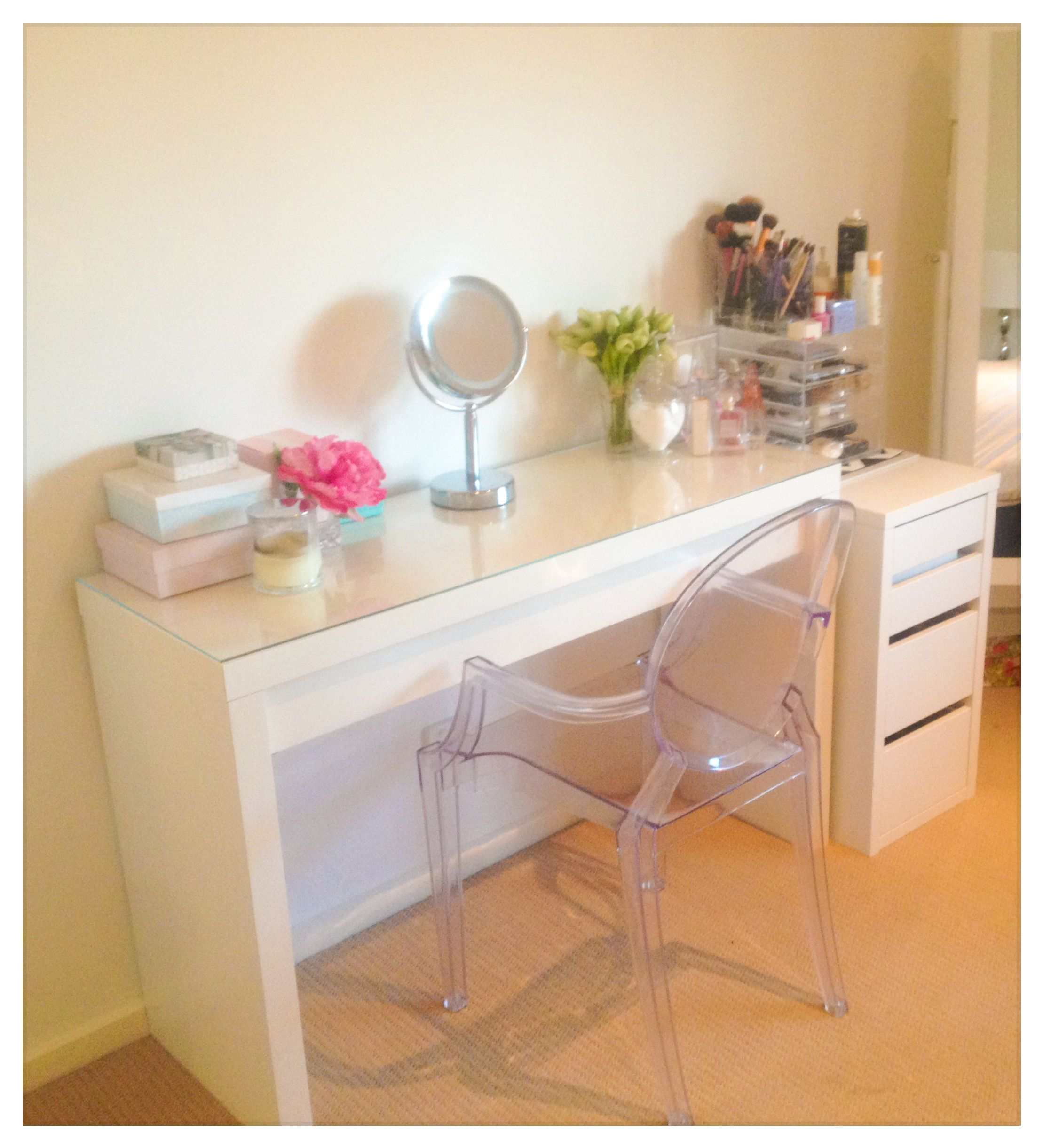 Ikea Malm Desk Used As Dressing Table For Makeup Storage With Ghost Chair Ikea Malm Vanity Makeup Storage Ma Make Up Desk Vanity Ikea Malm Desk Ikea Malm