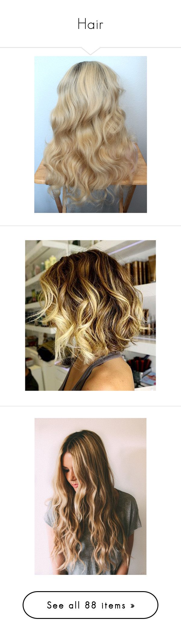 """Hair"" by poprocks18 ❤ liked on Polyvore featuring beauty products, haircare, hair styling tools, wig, curly hair care, hair, hairstyles, beauty, hair styles and cabelos"