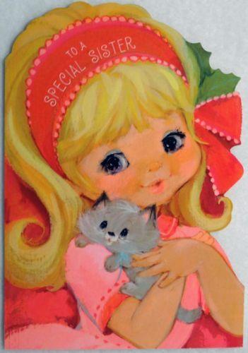 #283 70s Hallmark Mod Girl & Kitty Cat-Vintage Diecut Christmas Greeting Card