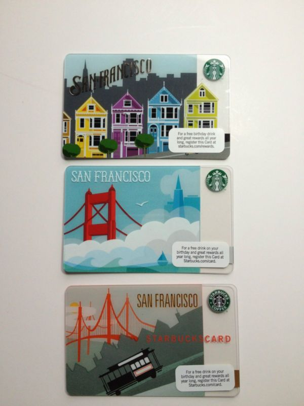Starbucks San Francisco Gift Card All 3 Cards 200