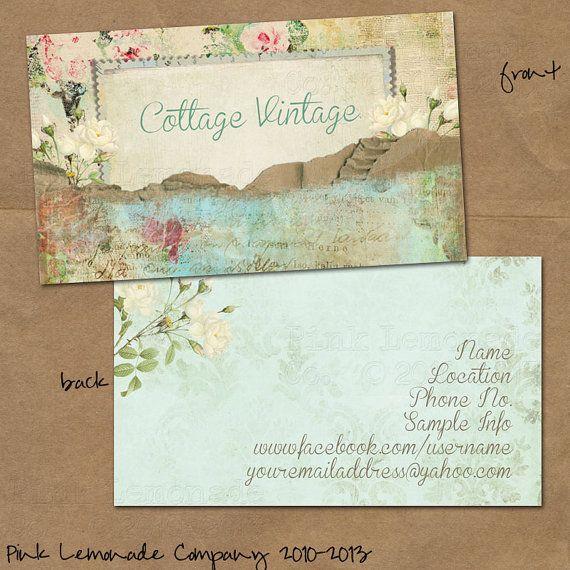 Cottage vintage design business card design plus 500 cards front and cottage vintage design business card design plus 500 cards front and back full color reheart Gallery