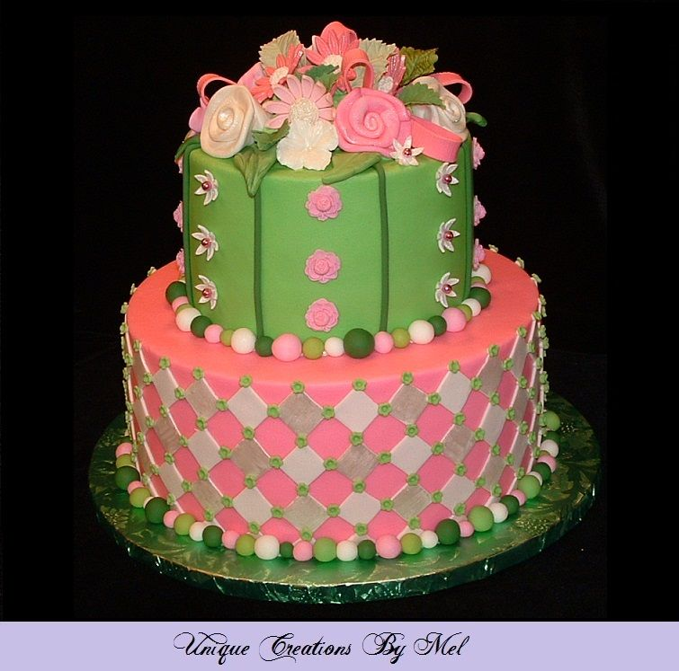 Pink Green White Floral Baby Shower Cake Cakes Baby Shower