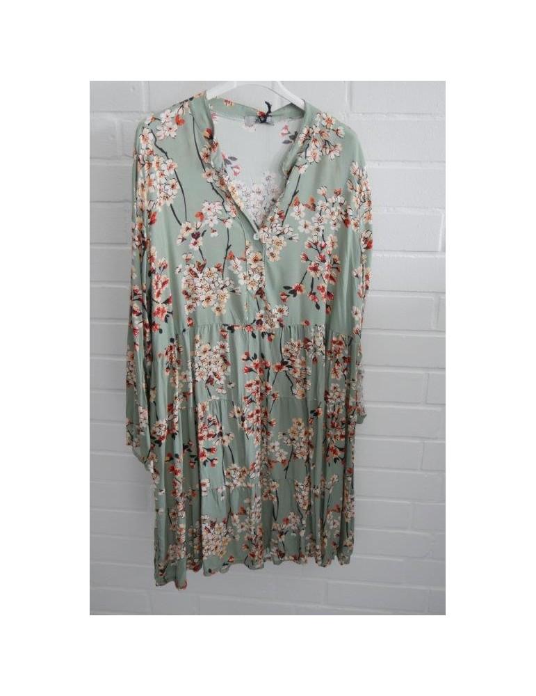 """Damen Tunika Kleid """"Japan Flower"""" A-Form lindgrün orange ..."""