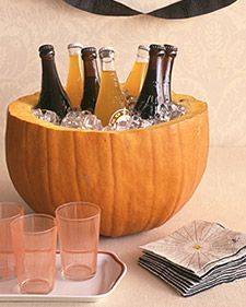 how to make a pumkin into a cooler or a punch bowl