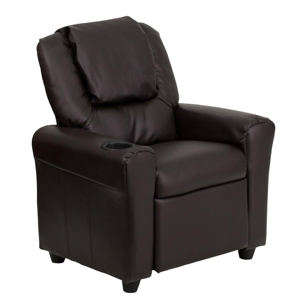 Flash Furniture Contemporary Brown Leather Kids Recliner With Cup