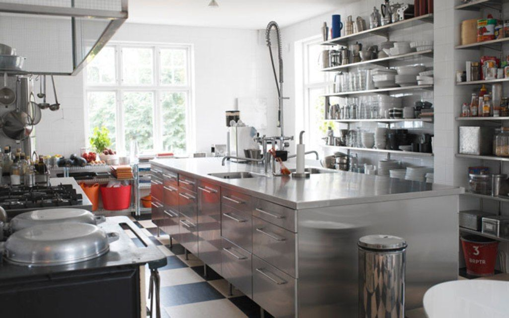 cool kitchen with stainless steel shelves kitchens in 2019 rh pinterest com