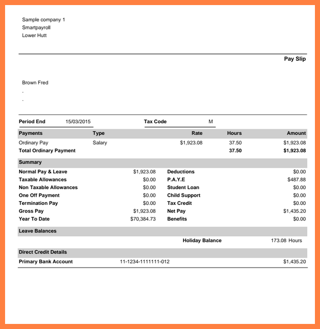 Smart Template Sample For Part Timer Employee Pay Slip Form Detailed With Holiday Balance Information Clasmed Payroll Template Word Template Invoice Template