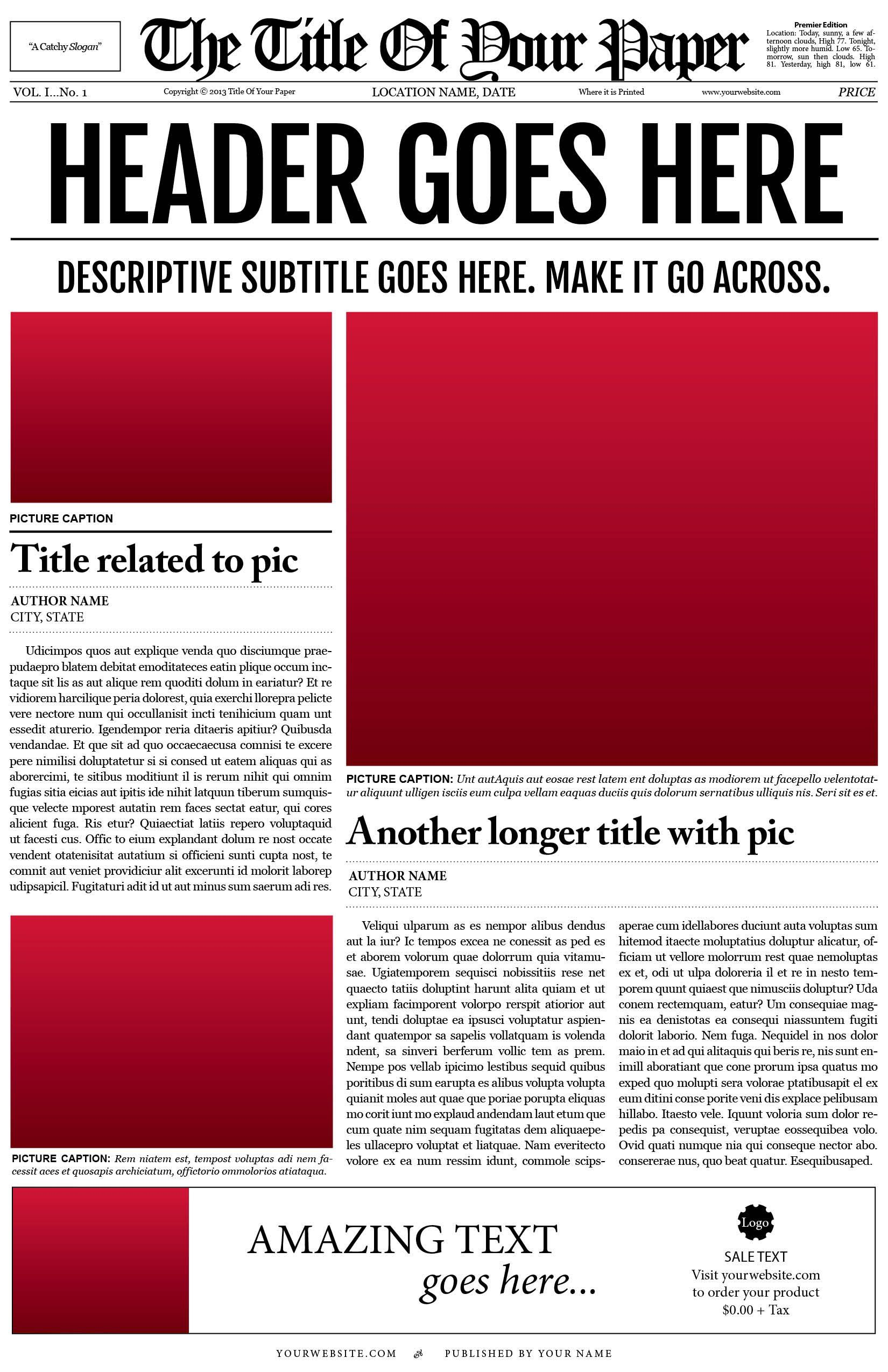 Old Style Newspaper Template Newspaper Template Design Newspaper Template Blank Newspaper