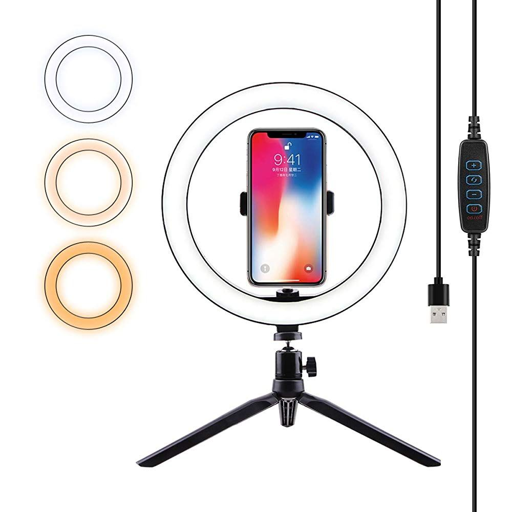 Ring Light With Cell Phone Holder Tripod Stand With Desktop Led Lamp With 3 Light Modes For Beauty Video Live And Cell Phone Holder Phone Holder Led Ring Light