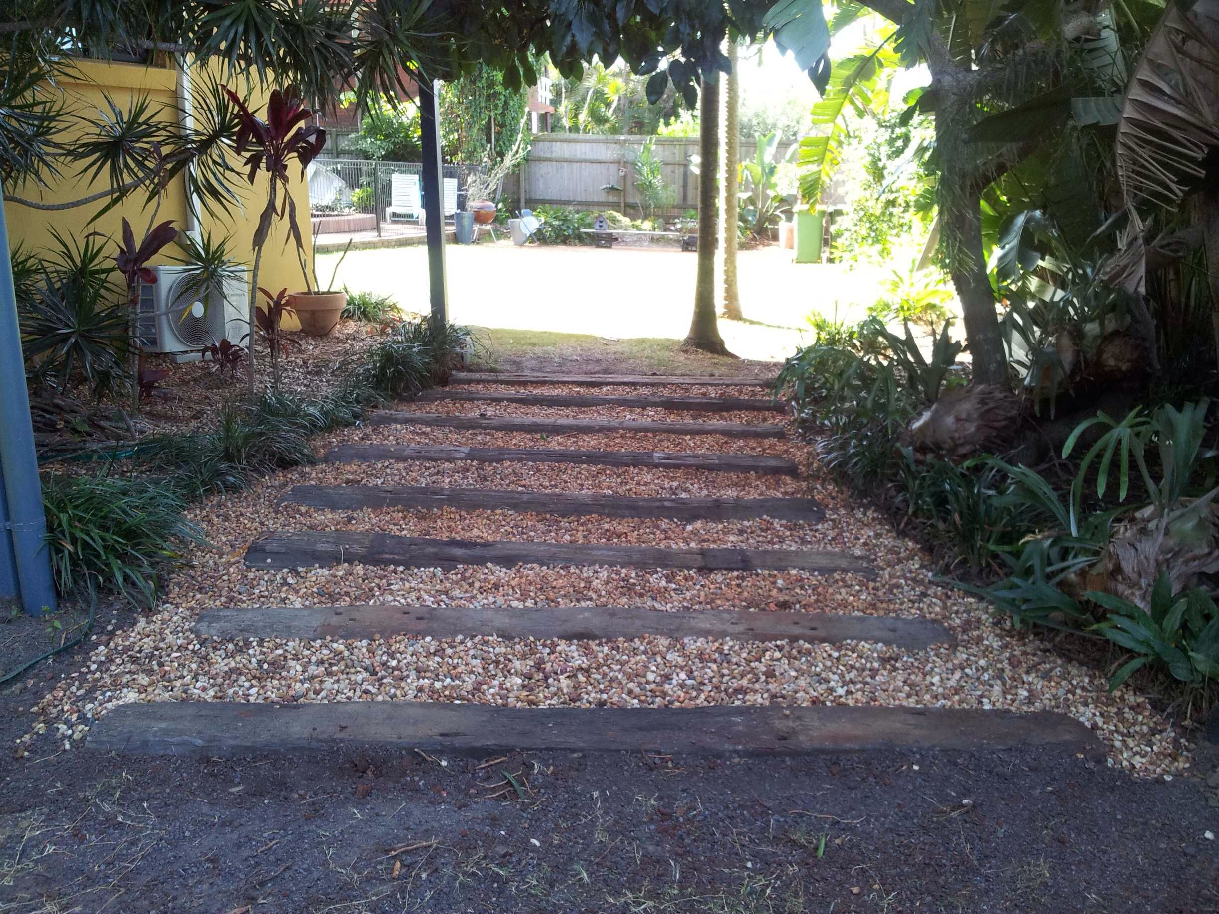our garden path made from recycled railway sleepers