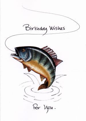 Trout on a line Birthday card by KalicoKards on Etsy, $3 ...