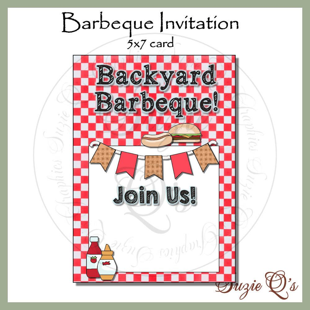 Barbeque Invitation - make your own - 5 x 7 card - Digital ...