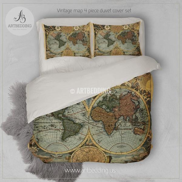 Old World Map Hemisphere Bedding Vintage Old Map Duvet Cover Set Antique Map Comforter Set Duvet Cover Sets Map Duvet Cover Map Duvet