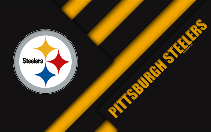 Download Wallpapers Pittsburgh Steelers 4k Afc North Logo Nfl Black Yellow Abstraction Material Design American Football Pittsburgh Pennsylvania Usa Pittsburgh Steelers National Football League American Football