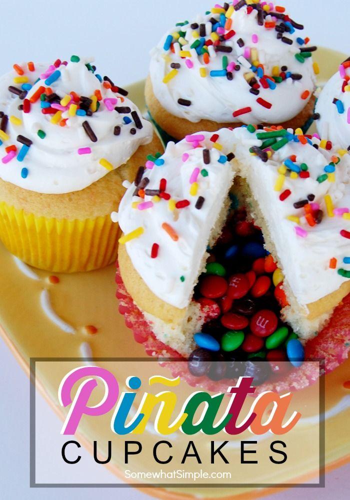 Easy Piñata Cupcakes Recipe Cupcake recipes, Pinata