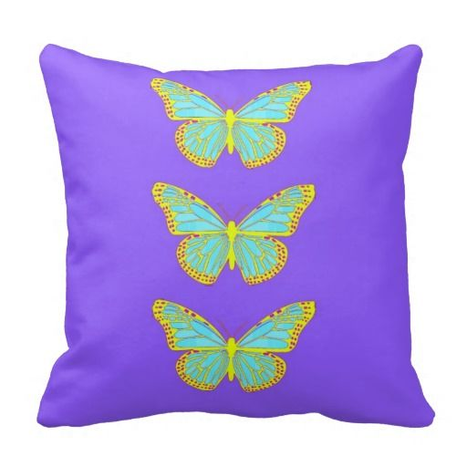Monarch Butterfly Purple Cushion by Sharles