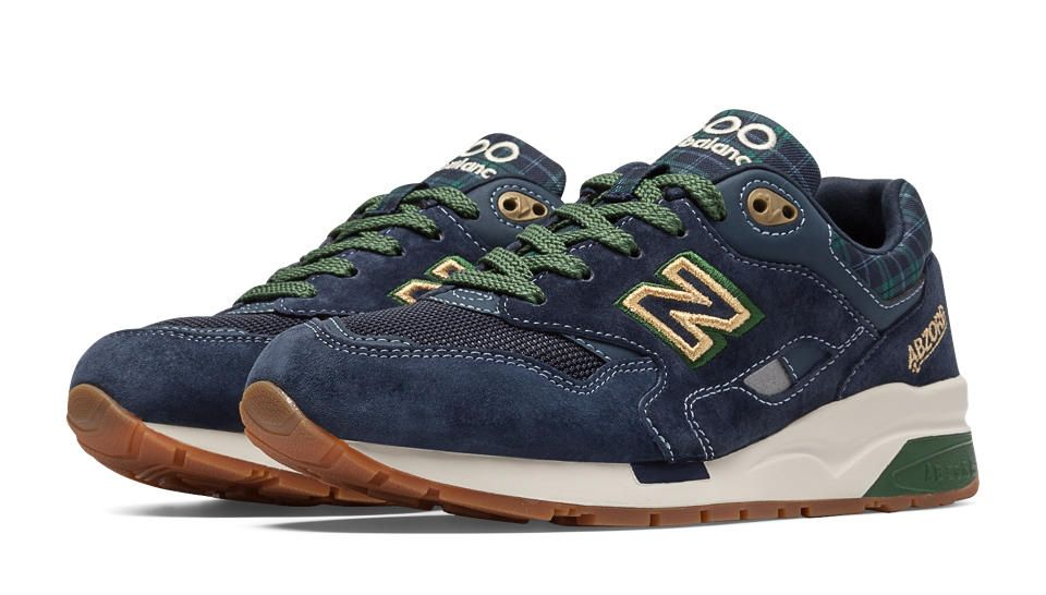 new balance 1600 blue & green tartan trainers