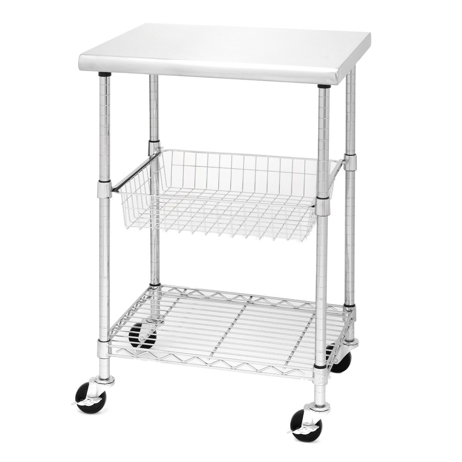 Seville Classics Stainless Steel Professional Kitchen Cart Cutting ...