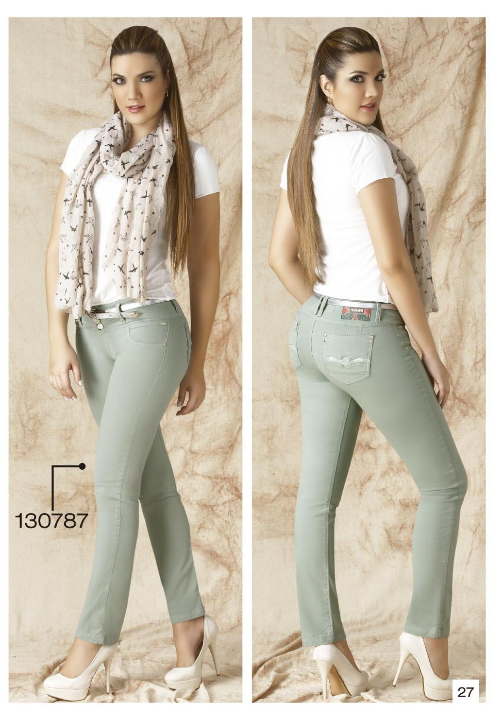 Claro Drill Tubo Pantalon Bota Color Verde De Pants nqC575tSW