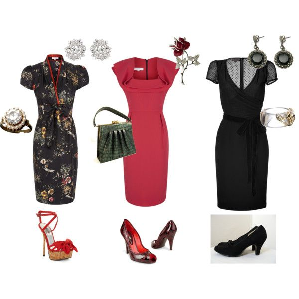 """""""1940's-Inspired Looks for Kibbe Soft Dramatic"""" by lisaki on Polyvore"""