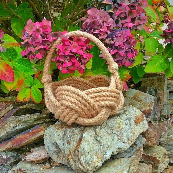 Rope Flower Girl Basket, Rustic Wedding, Nautical Jute Rope Knot Bowl with Handle. Rope Planter. Han #ropeknots