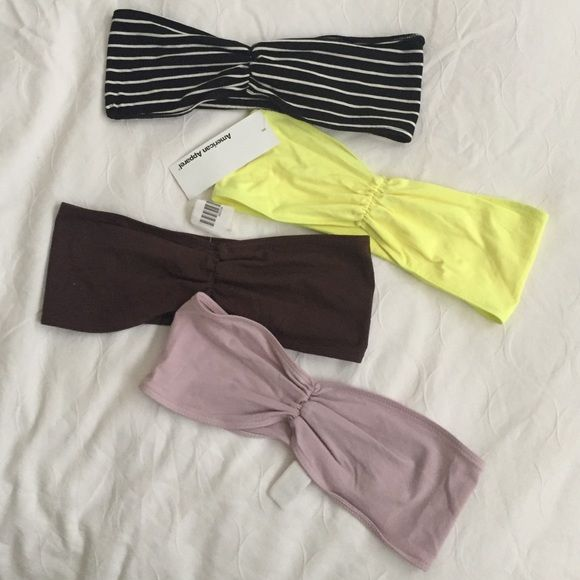 American Apparel bandeau bralettes NWT sz small All except for hello have tags. The yellow might have been worn 1 time. All size small. Originally $15 each. 95% cotton, 5% elastase for stretch. Make me an offer! American Apparel Intimates & Sleepwear Bandeaus