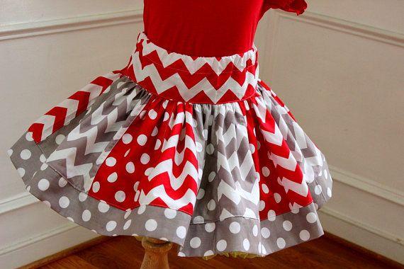handmade clothes girl skirt red green polka dot christmas size 5