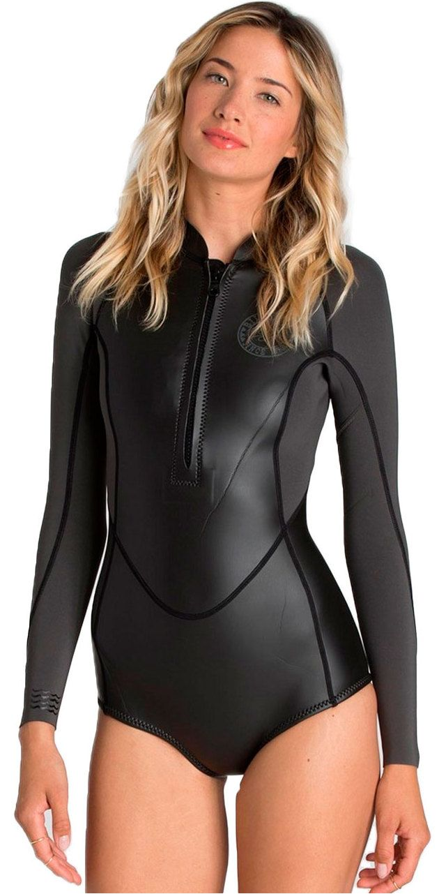 245e6a0166 2016 Billabong Ladies 2mm Salty Daze Long Sleeve Shorty Wetsuit BLACK Z42G01