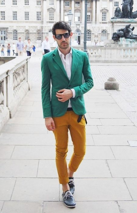 Men's Green Blazer, White Dress Shirt, Mustard Chinos, Black ...
