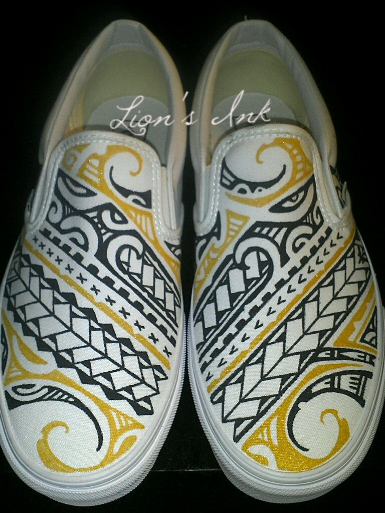 Vans shoes hand painted polynesian Tribal designs. Made by