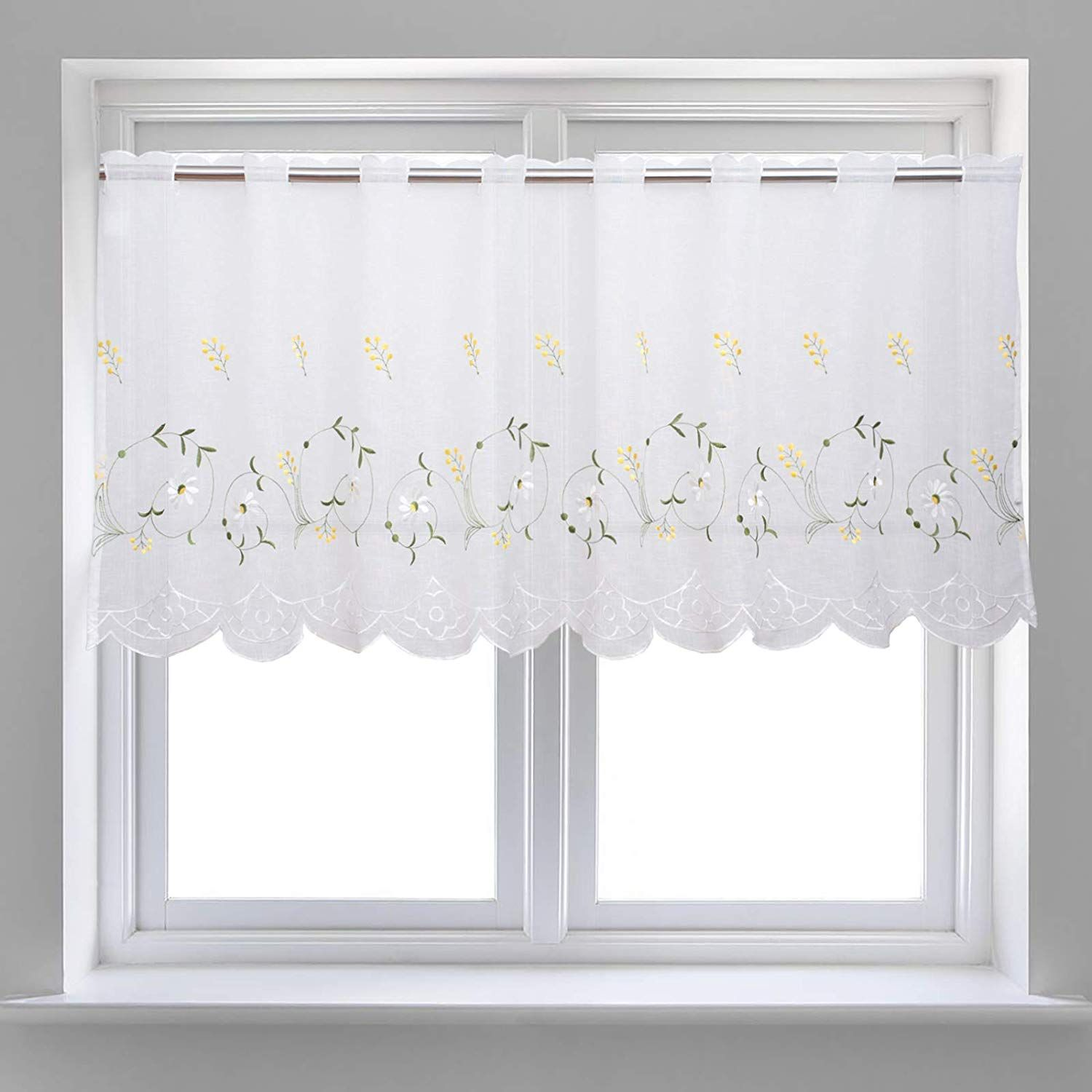 Amazon Com Wemay Panel Embroidery Pastoral Style Cafe Curtain Kitchen Curtain Floral Window Valance W58 X Cafe Curtains Kitchen Cafe Curtains Kitchen Curtains