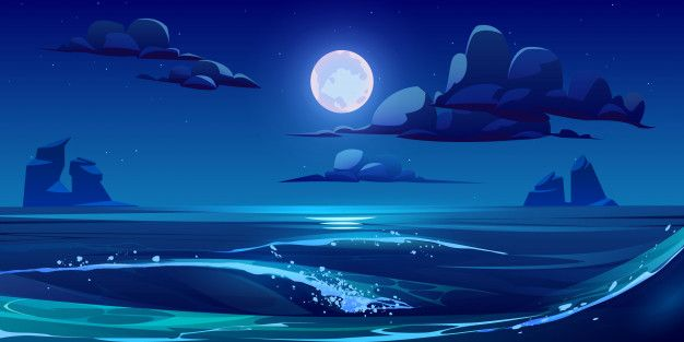 Download Night Sea Landscape With Moon, Stars And Clouds for free
