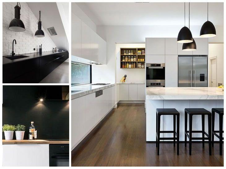 ideas de cocinas en blanco y negro 12