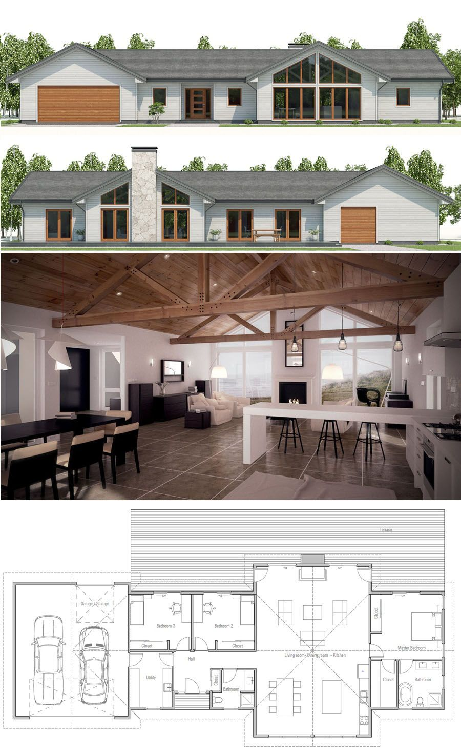 Modern farmhouse plan eliminate the extra rooms between the garage and living space