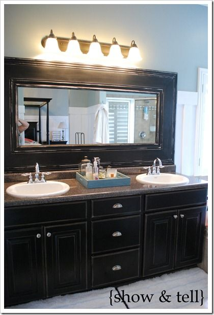 Bathroom Mirror Redo Finished My Version Of This Yesterday And I Love It Ve Always D Those Stock Mirrors In Bathrooms Is A Great Easy