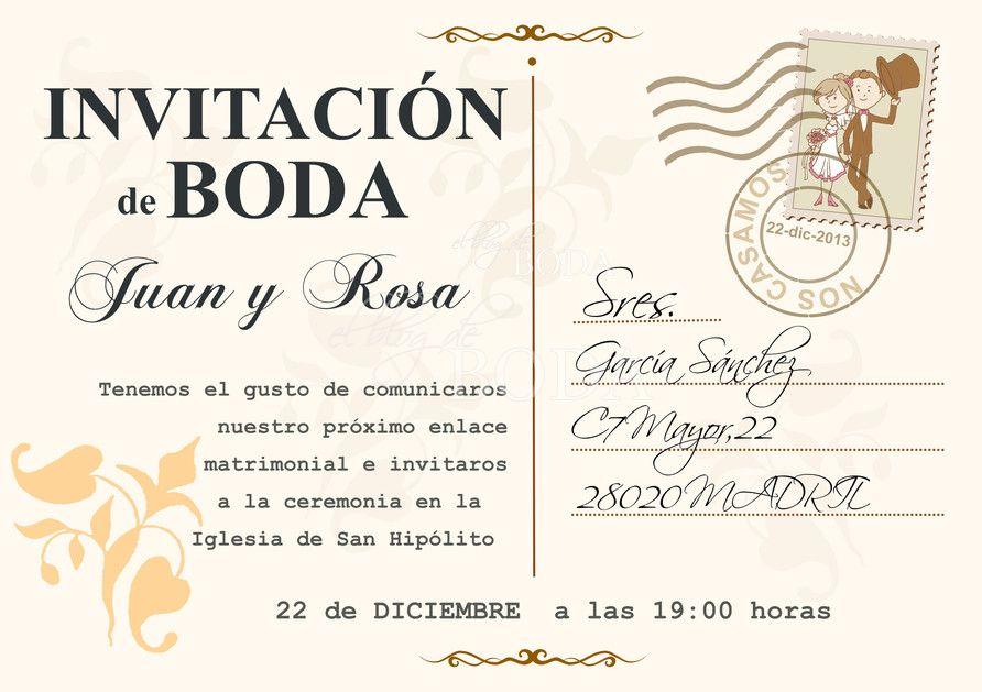 Crear Una Invitación De Boda Tarjeta Postal Vintage