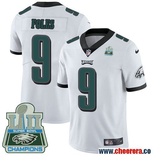 9d5be2f8446 Men's Nike Eagles #9 Nick Foles White Super Bowl LII Champions Stitched NFL  Vapor Untouchable Limited Jersey