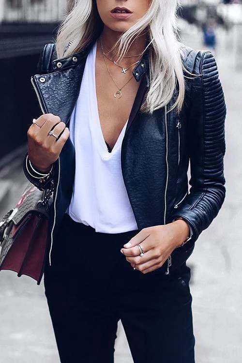 Zipper Slim Leather Jackets