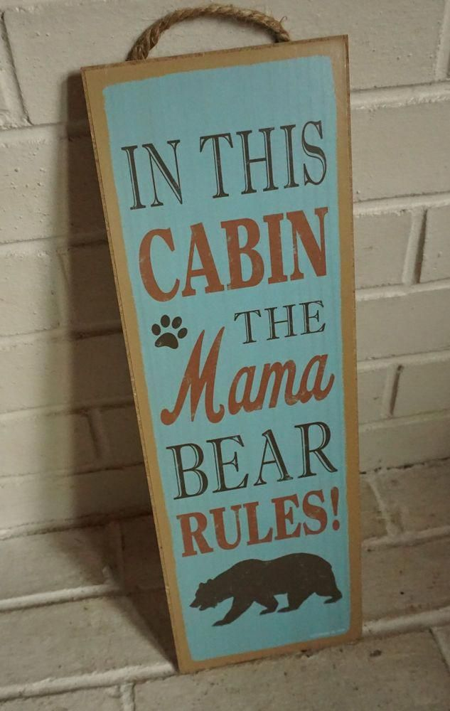 Cabin Lodge Sign MAMA BEAR RULES Rustic Blue Wood Plank Log Home Kitchen Decor