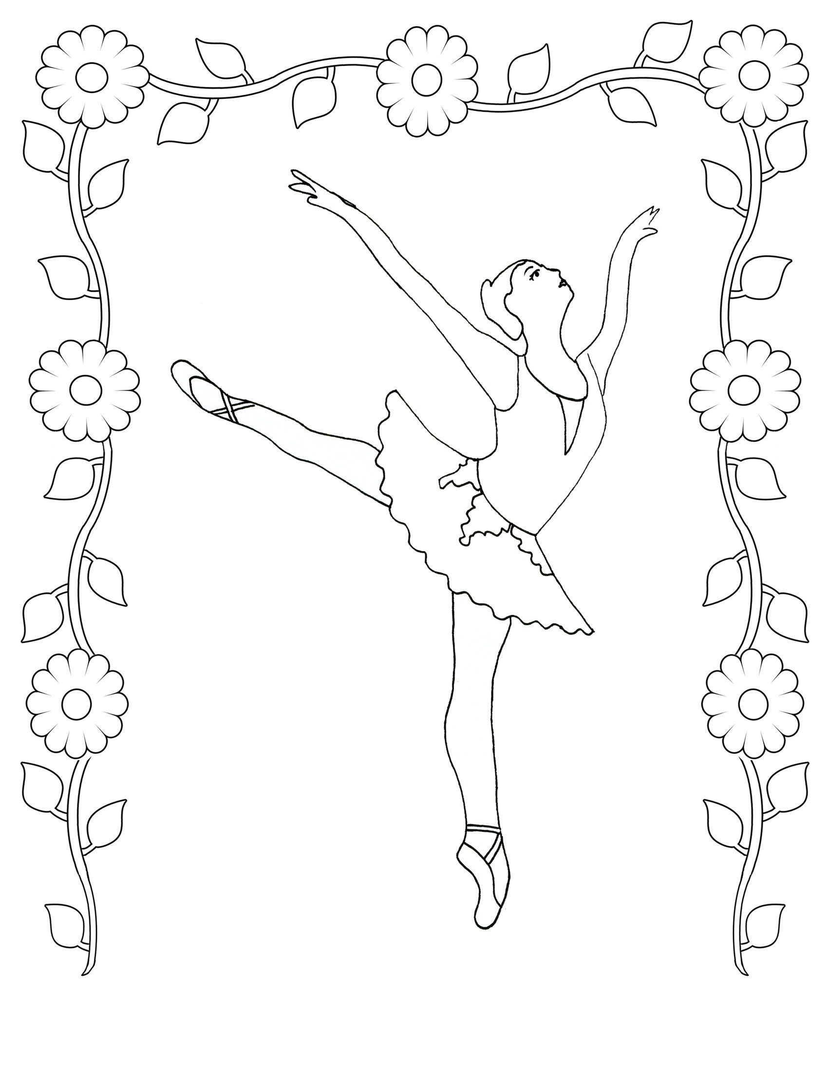 Coloring pages ballerina - Coloring Pages Realistic Ballet Colouring Pages Angelina Ballerina