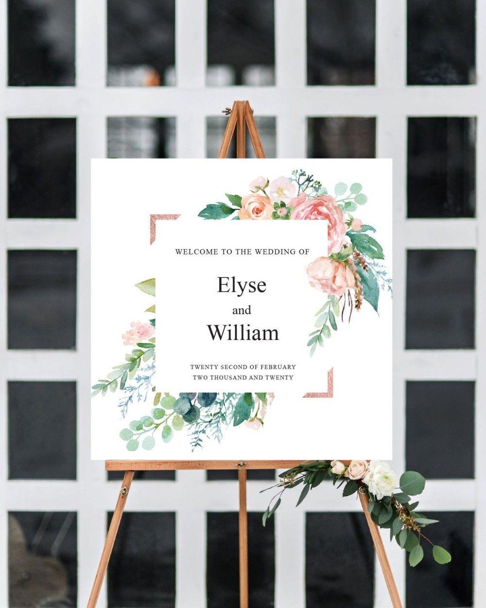 Quadratisches HochzeitsWillkommensschild Blumenhochzeit