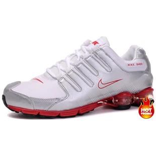 on sale 80ea6 64906 Chaussures Nike Shox Blanc  Argent  Rouge -   Nike Chaussure Pas Cher,Nike  Blazer and Timerland