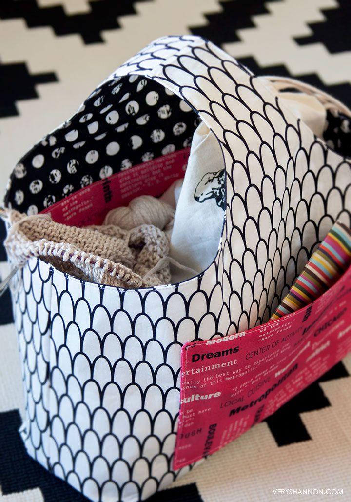 Knitting Bag Patterns Sewing : Free reversible box tote pattern veryshannon