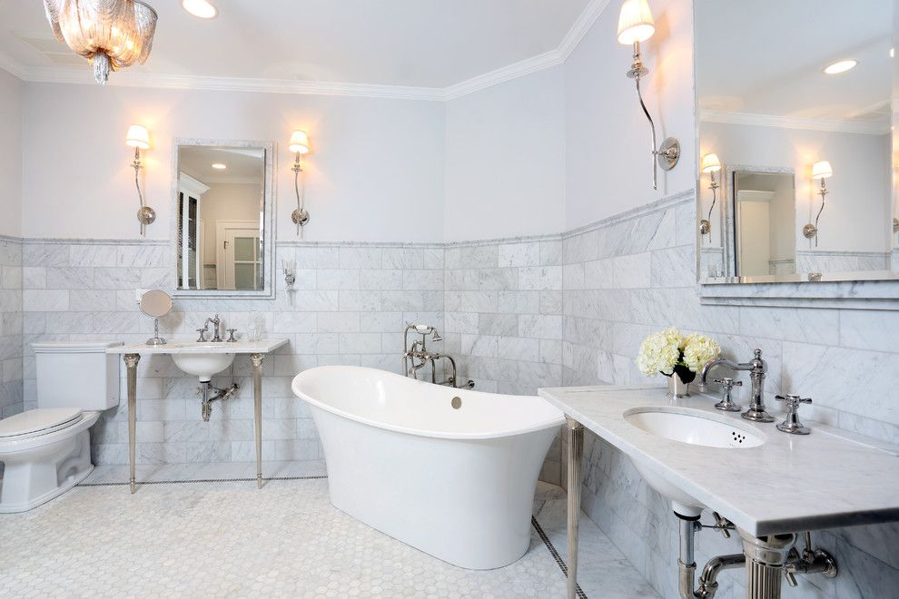 Carrera White Marble Bathroom Traditional With Bathroom Chandelier