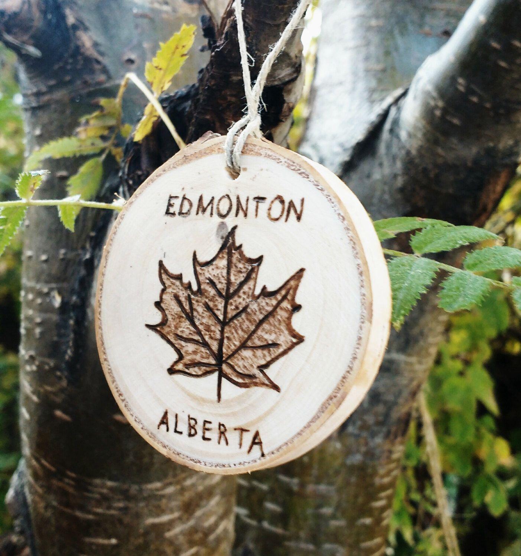 Custom Maple Leaf Ornament, Canada Birch Ornament, Wood