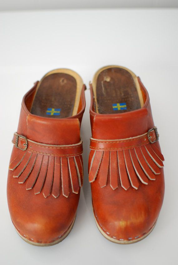 9619475b89 Vintage 1970s   MIA   fringe   clogs   Sweden   Swedish   wood soles ...