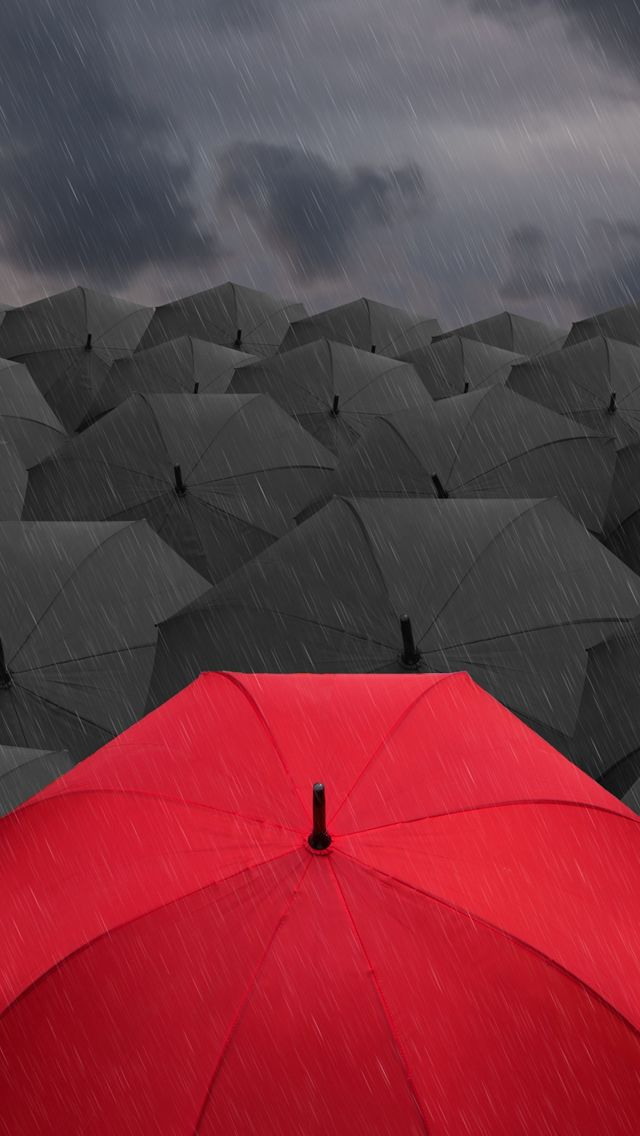 Umbrella Rain Gray Red IPhone 5s Wallpaper