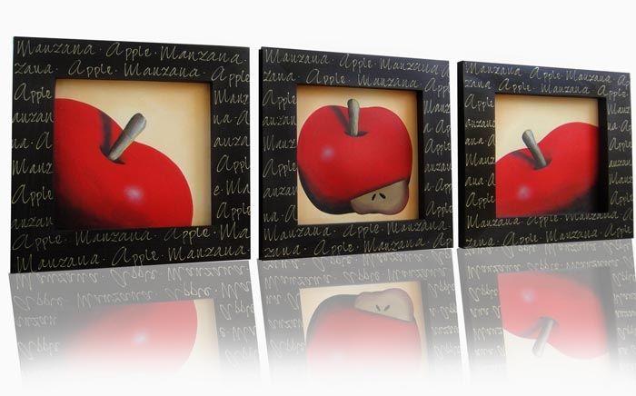 Cuadro apple minimal t cnica leo y acr lico sobre for Marcos de cuadros modernos