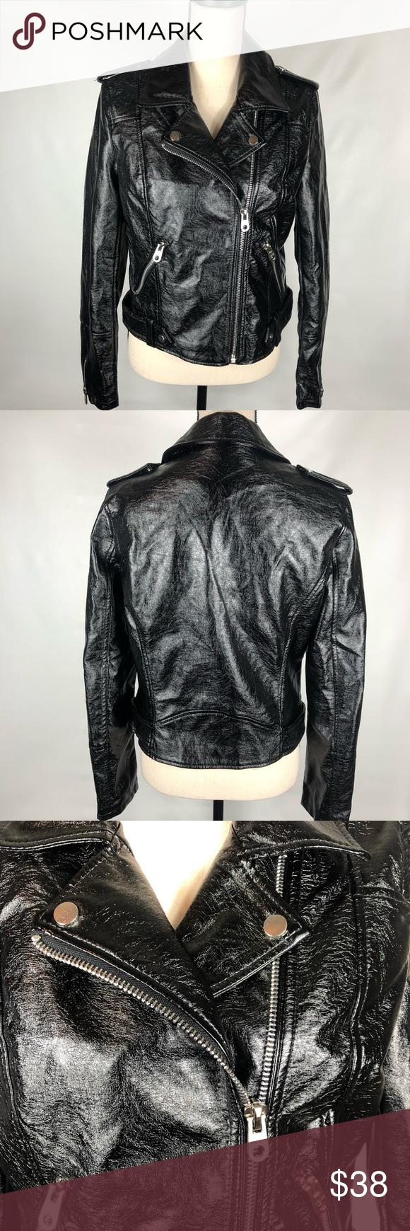 Vigoss Moto Faux Shiny Black Leather Jacket Fringe Leather Jacket Leather Jacket Vegan Leather Jacket [ 1740 x 580 Pixel ]