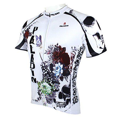 Paladin Men White Cycling Jersey Bike Shirt Rider Apparel  Short Sleeve
